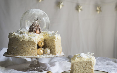 Angel Snow Globe Cake with Brandy Butter Frosting