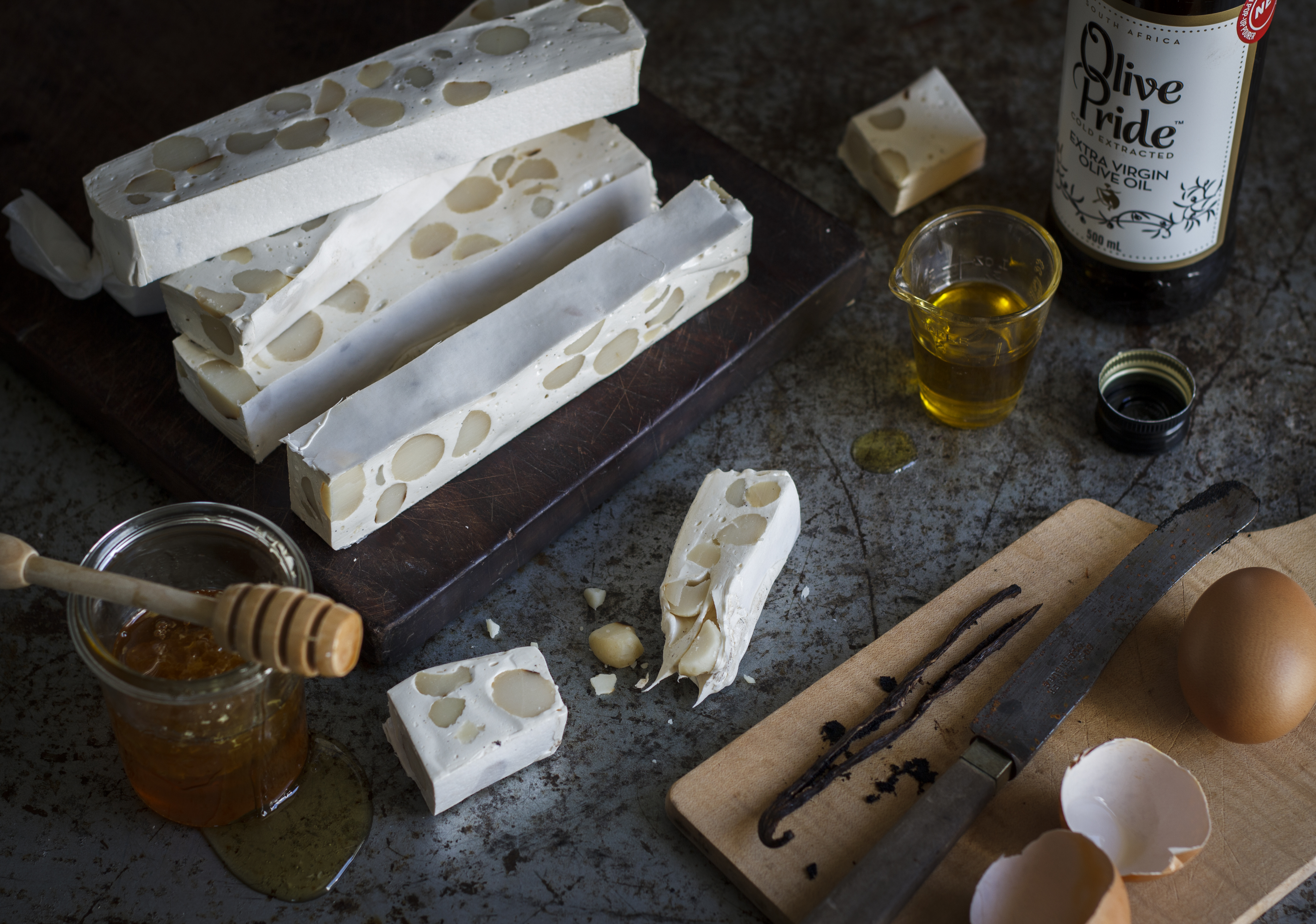 Homemade Vanilla and Olive Oil Nougat with Macadamia Nuts