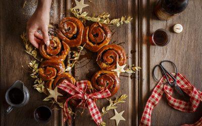 Christmas Bun Wreath with Sherry Caramel